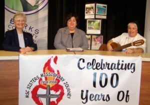 Sr. Gina Iadanza, center, announced the 100th anniversary of the MSC Sisters United states Province to the BCTV community in Berks County Pennsylvania along with fellow Sisters Theresa Molchanow and Lisa Valentini in 2009.